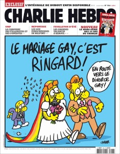 Charlie Hebdo provocative take on gay marriage as tacky, and a path to gay divorce.
